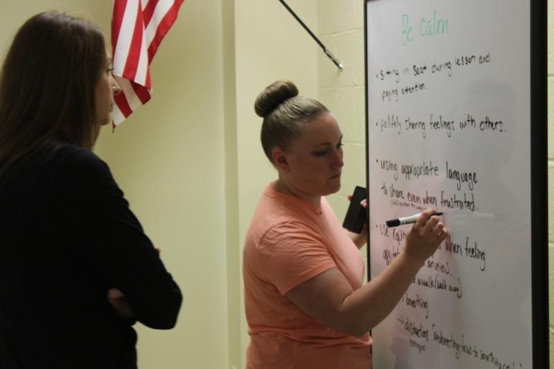 Regional Summer School teachers identify ways to help students stay calm during a staff professional development session