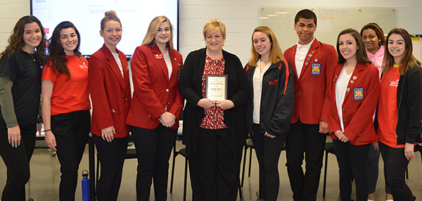 [PIC] Students with CTI Instructor Sharon Myers- recognized as NYS SkillsUSA Area IV Advisor of the Year