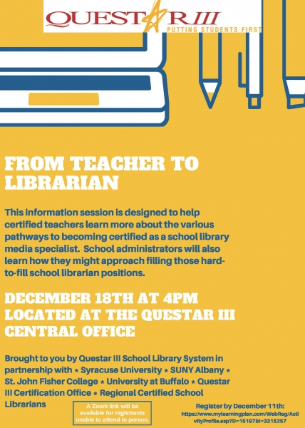 Flyer - From Teacher to Librarian Information Session